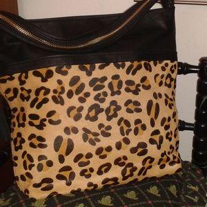 Big Buddah, NWT, Leopard Print & Black Tote